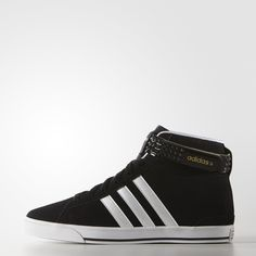 A twist on the 3-Stripes. These girls' shoes flash a reversible ankle strap with studs on one side.