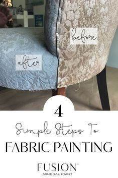Painting Fabric Fusion Mineral Paint Painting Fabric Fusion Mineral Paint Zina Wi zinahwi Painting Lettering How to update an outdated piece with fabric painting nbsp hellip fabric Chalk Paint Fabric, Painting Fabric Furniture, Paint Upholstery, Chalk Paint Furniture, Fabric Painting, Chalk Paint Chairs, Best Fabric Paint, Faux Painting, Painting Leather