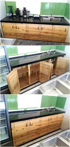 Amazing Uses For Old Used Wooden Pallets We never run out of ideas when it comes to decorating your inner or outer space of house and here we present another classic idea with kitchen cabinets made out of retired wood pallets re-transformed so skillfully. Pallet Kitchen Cabinets, Vinyl Flooring Kitchen, Kitchen Cabinet Storage, Kitchen Rack, Pallet Cabinet, Floors Kitchen, Pallet Furniture, Furniture Design, Kitchen Decor