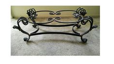 Wrought Iron Coffee Table Base, Living Room Furniture Accent, Metal Cocktail. Vintage, 1970s,1980s $250.00