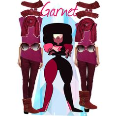 "#ColorMyLife #Earrings from #JRDunn in ""Garnet from Steven universe"" by nightdragongirl on Polyvore"