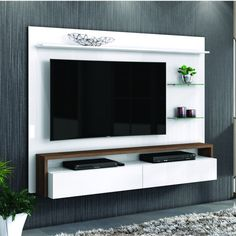 Compre Painel para TV até 58 Polegadas Toronto Living Belaflex Branco/Malte em até sem juros e entrega para todo Brasil. Wall Unit Designs, Tv Stand Designs, Living Room Tv Unit Designs, Tv Unit Interior Design, Tv Unit Furniture Design, Tv Unit Decor, Tv Wall Decor, Tv Cabinet Design, Tv Wall Design