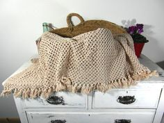 Long crochet lace cafe curtain table runner by frenchvintagedream