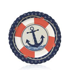 Ahoy - Nautical - Birthday Party Dessert Plates - 8 ct | BigDotOfHappiness.com