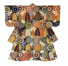 Atsuita-karaori, weft pattern of sacred wheels, cedas, bolts of lightning and clouds over a ground of blue, brown and light green alternating blocks, silk. Edo period, 17th century.