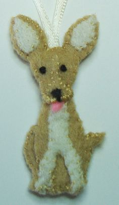 "2"" Felt Dog Ornament. $20.00, via Etsy."