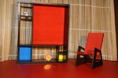 Modern funiture, Mondrianized bookcase, 1/12 miniature for dollhouses. €37.00, via Etsy.