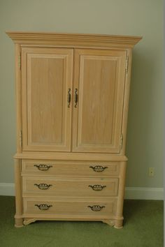 Thomasville pecan tall cabinets incl (1) open shelf lighted curio ...