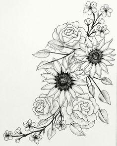Super Blumen Tattoo Skizze Sonnenblumen 60 Ideen - Super Blumen Tattoo Skizze S. - Super Blumen Tattoo Skizze Sonnenblumen 60 Ideen – Super Blumen Tattoo Skizze Sonnenblumen 60 Id - Rose Tattoos, Leg Tattoos, Body Art Tattoos, Tattoo Hip, Drawing Tattoos, Flower Thigh Tattoos, Tatoos, Side Of Thigh Tattoo, Tattoos With Flowers