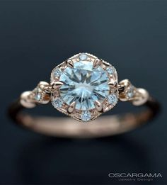 Moissanite Engagement ring with flower halo from .30ct to