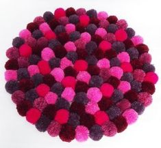 Pink and Purple Pompom rug