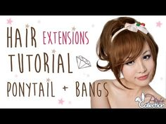 How to Put on Hair Extensions: Clip On Ponytail & Bangs - YouTube