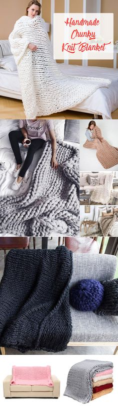 US$22.77 Handmade Chunky Knit Blanket Thick Yarn Merino Throw Bed Sofa Decor 60/100/120CM#newchic#home#bedding#handmade