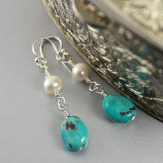 Turquoise Pearl Sterling Silver Earrings