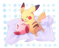 Kirby and Pikachu by Kuo, deviantart