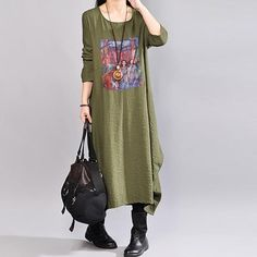 Women Spring Round Neck Long Sleeve Army Green Printed Dress