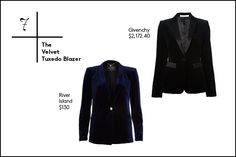 30 Essentials To Get Through The Holiday Season #refinery29  http://www.refinery29.com/holiday-outfit-essentials#slide8  7. The Velvet Tuxedo Blazer The tuxedo blazer is basically always in style, but this season, we're into iterations featuring luxe, velvet fabrics. Top it over a dress or even jeans and a tee and you'll look fancy like that.