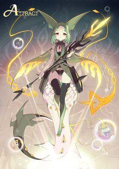 1000marie cape facial_mark forehead_mark gem green_hair mega_pokemon mega_rayquaza personification pokemon pokemon_(game) pokemon_oras rayquaza red_eyes tail thigh-highs tiles weapon