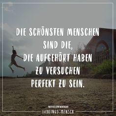 Die schoensten Menschen sind die, die aufgehoert haben zu versuchen perfekt zu sein.