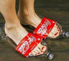 Refreshing idea for Summer - Flip Flops Coca Cola in size - Priceless 😉 Pic by Unknown Fashion Fail, Funny Fashion, Weird Fashion, Funny Shoes, Recycled Dress, Rubber Gloves, Crazy Shoes, Weird Shoes, Recycled Fashion