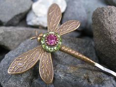 Bronzed Dragonfly Bobby Pin with Green and Pink by thepinkcamellia