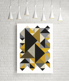 Geometric print, large wall art, art, wall art, gift for men, fine art prints, room decor, yellow, grey, black, poster, texture, organic by FLATOWL on Etsy