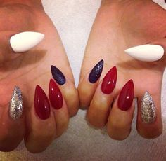 Red black white and silver nails