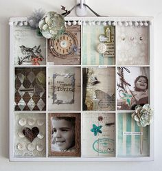 "Use painter's tray to create a ""scrapbook"" page you can hang on the wall...."