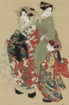 Oiran with attendants. Main detail of a hanging scroll; ink and color on silk, 1830-40, Japan, by artist Mihata Joryu. MFA
