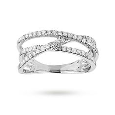 For Her - Brilliant cut 0.34 total carat weight diamond cross over ring set in 9 carat white gold - M06070584
