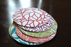 Colorful Letterpress Coasters set of 6 by WishboneLetterpress, $8.00  Letterpress, the word just makes me happy!  These are Letterpress Coasters available on Etsy.  I've already snagged my sets!