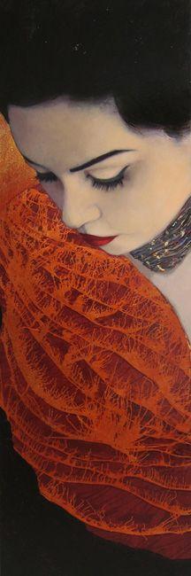 "Richard Burlet ~ ""Sari"" ~ Technique Mixte (180 x 60 cm)"