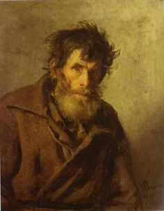 Portrait of shy peasant by Ilya Repin---Serfs in Russia were divided into two…