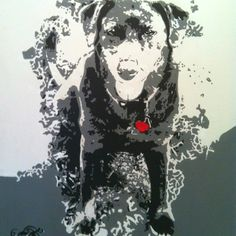 """Abby"" Chocolate Lab - Custom hand painted 16""x20"" black & white acrylic portait by renowned artist Mike Latiolais on stretched canvas. www.ArtByLatiolais.com"