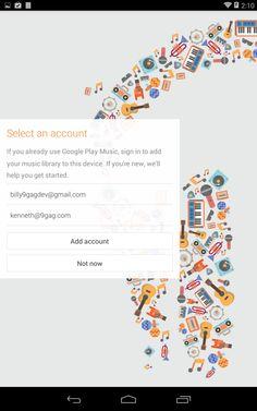 Google music login screen Add Music, Google Play Music, Music Library, Android, Random, Casual