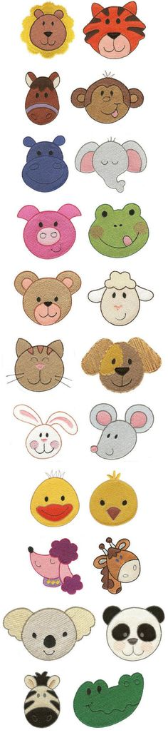 "Inspiration: ""Cute Animal Faces Filled"" this huge set of 22 designs comes with simple and delightful animal faces suitable for kids clothes, gear, quilts and sew much more! Come see them all today!"
