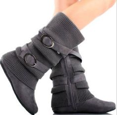Women's Dual Buckle Warm Sweater Boots in Black, Brown, Red, Tan, Gray (7, Gray) La Bella Fashion,http://www.amazon.com/dp/B00HQ5SEE6/ref=cm_sw_r_pi_dp_e3Xjtb13WY27TWXV
