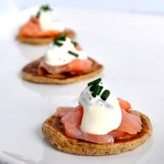 Blinis topped w/Smoked Salmon and Creme Fraiche | Breakfast Wedding Menu