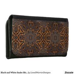 Black and White Snake Skin Leather Wallet Wallets For Women, Snake Skin, Continental Wallet, Leather Wallet, Black And White, Products, Women's Wallets, Black White, Black N White