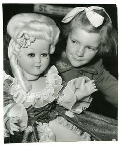 Vintage 1958 Young Australian Girl with Marie Antoinette Style Blonde Doll Photo | eBay
