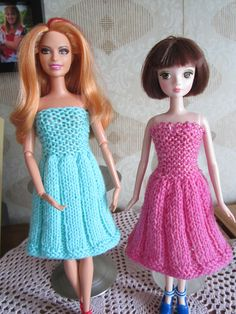 crocheted barbie doll clothes Ravelry: Stylish Dress For Barbie pattern by taffylass knits Knitting Dolls Free Patterns, Crochet Barbie Patterns, Knitting Dolls Clothes, Barbie Clothes Patterns, Crochet Barbie Clothes, Doll Clothes Barbie, Doll Dress Patterns, Barbie Dress, Knitted Dolls