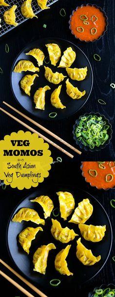 Veg Momos or South Asian Veg Dumplings Red Chutney Recipe, Chutney Recipes, Dinner Party Appetizers, Appetizer Recipes, Kitchen Recipes, Cooking Recipes, Cooking Food, Kitchen Tips, Veg Momos