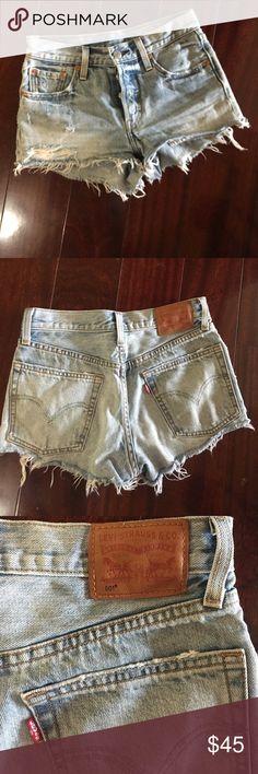 Levi 501 jean shorts Levi 501 jean shorts; light wash; lightly worn; soft fabric from wearing; size 24 Levi's Shorts Jean Shorts