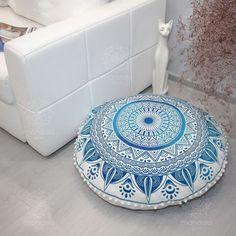 Sitzkissen & Bodenkissen - Mandala Boden Kissen Yoga Kissen Runde Kissen - ein Designerstück von LindasJewelryStuff bei DaWanda