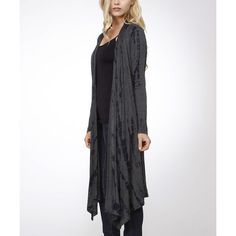 Bellino Charcoal & Black Tie-Dye Long Cardigan featuring polyvore, women's fashion, clothing, tops, cardigans, tie dye tops, charcoal gray cardigan, tie dye cardigan, tie-dye tops and tie die tops