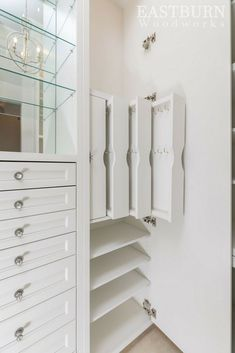 Custom built Eastburn Woodworks closet with Jewelry storage organizers. - Custom built Eastburn Woodworks closet with Jewelry storage organizers. Master Closet Design, Master Bedroom Closet, Closet Wall, Bathroom Closet, Jewelry Closet, Jewellery Storage, Diy Jewelry, Jewelry Box, Zales Jewelry