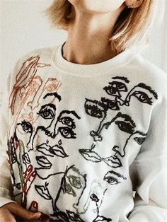 Cute black and white print sweater.