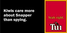 Do Kiwis care more about the reduction in our Snapper quota than about having more pally-wally American spy legislation? I think not, Mr Key...