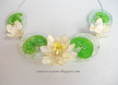 White water lily wire necklace with nail polish by semeistvoadams.blogspot.com