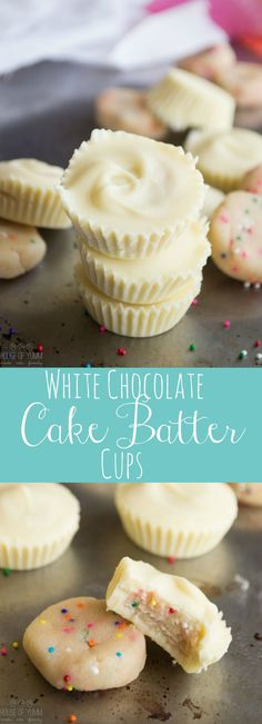 White chocolate cups filled with edible cake batter! Move over peanut butter cups! There's a new chocolate cup dessert in town! These white chocolate cups are stuffed with edible cake batter, loaded with sprinkles of course. Candy Recipes, Baking Recipes, Sweet Recipes, Dessert Recipes, Pasta Recipes, Chocolate Cup Desserts, White Chocolate Cake, Chocolate Lovers, White Chocolate Recipes